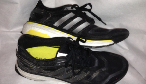 Energy Boost shoe, complete with Central Park mud!